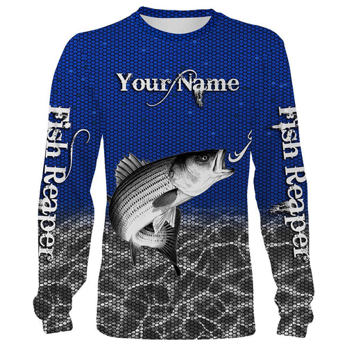 Striped Bass (Striper) fishing Fish Reaper Customize name All over print shirts Personalized Fishing gift for men and women - IPH968