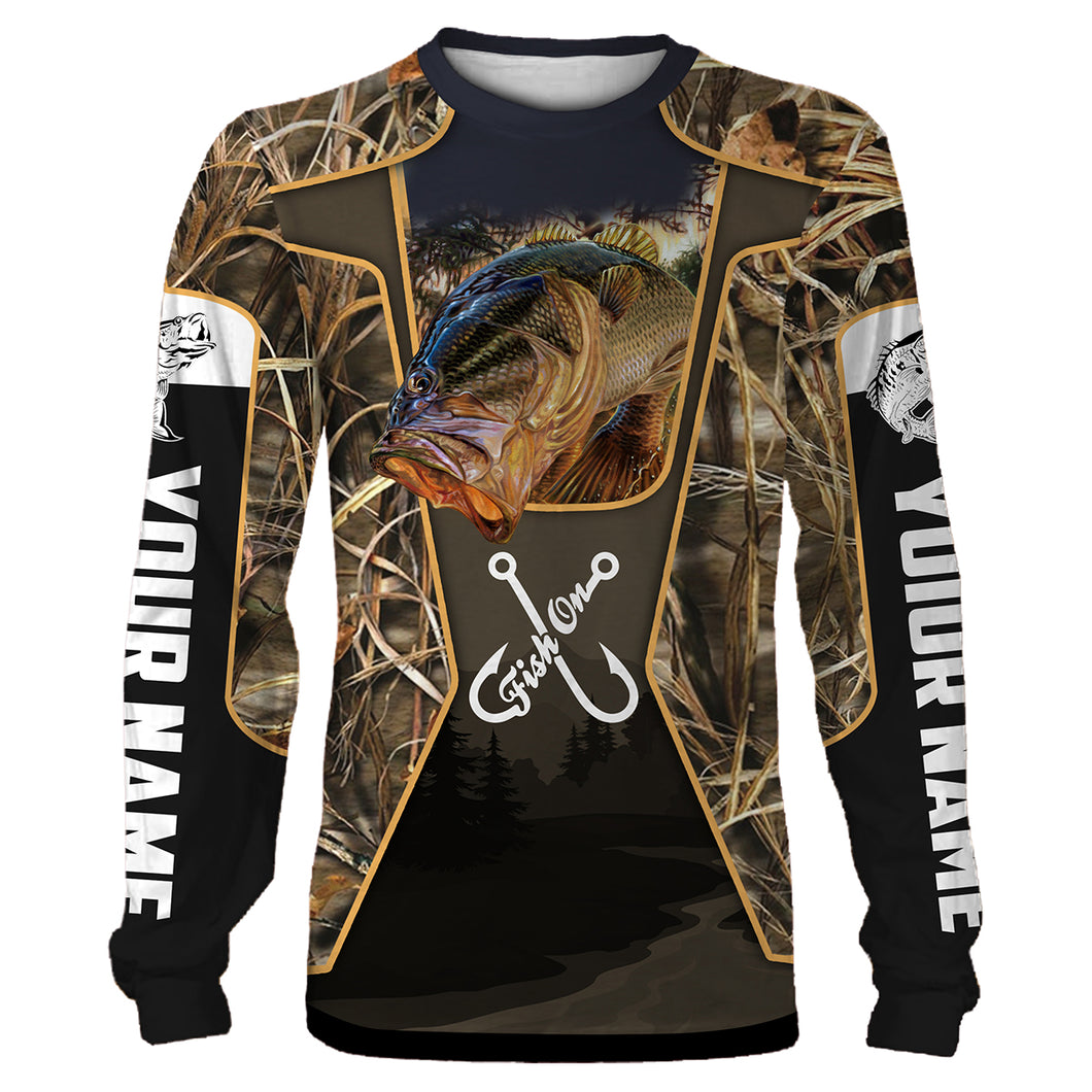 Personalized Fish on bass fishing 3D full printing Long sleeve, Hoodie, Zip up hoodie - PQB21