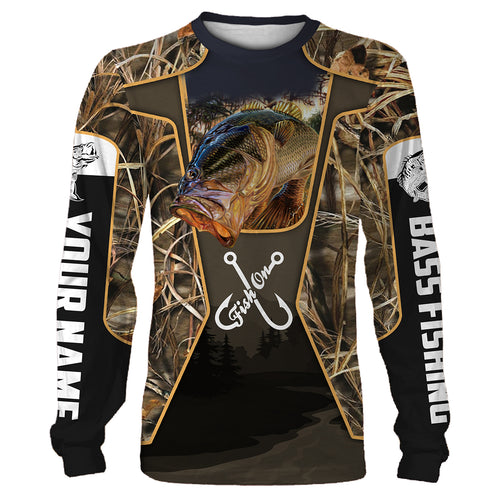 Personalized Fish on bass fishing 3D full printing shirt for adult and kid