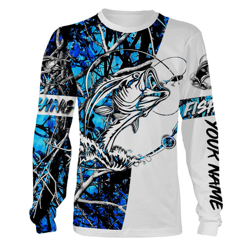 Bass blue fish customize name bass blue fishing personalized gift camo fishing tattoo full printing shirt, long sleeves, hoodie, zip up hoodie