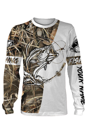 Custom camo bass fishing shirts all over printed T-shirt, Long sleeve, Hoodie, Zip up hoodie