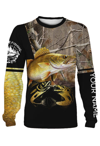 Customize name walleye fishing 3D full printing Long sleeve, Hoodie, Zip up hoodie