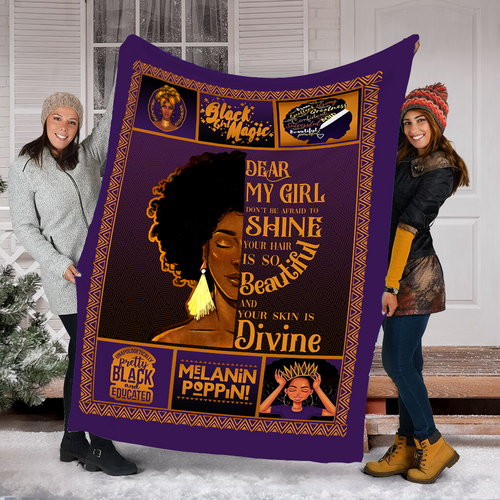 To My Daughter Fleece Blanket, Your Hair Is So Beautiful black girl magic - sentimental unique birthday, Christmas gift ideas for daughter from Mom - NQSD276