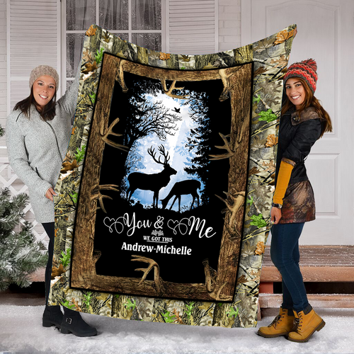 Custom name You and me we got this valentine hearts deer soft throw fleece blanket, sentimental gift for husband, wife, boyfriend, girlfriend - NQSD266
