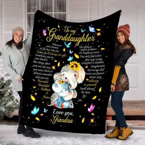 To my great granddaughter cute Elephant butterfly blanket, granddaughter quotes blanket, gift for granddaughter from grandma D05 NQS1243