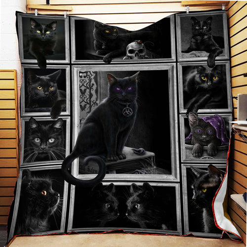 Cat black spell fleece blanket
