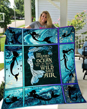 Load image into Gallery viewer, SOFT THROW MERMAID, AQUAMARINE FLEECE BLANKET - 3DQ107 WINTER BLANKET