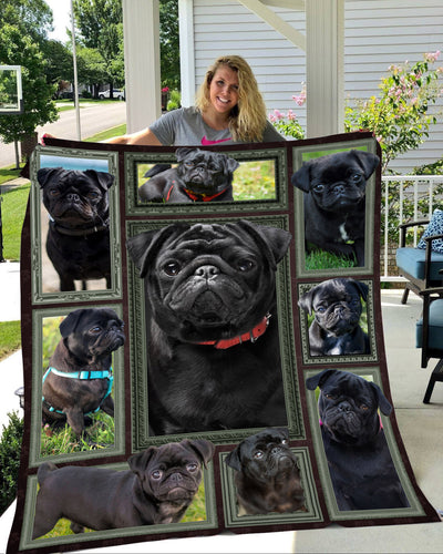Pug such a cute black dog fleece blanket
