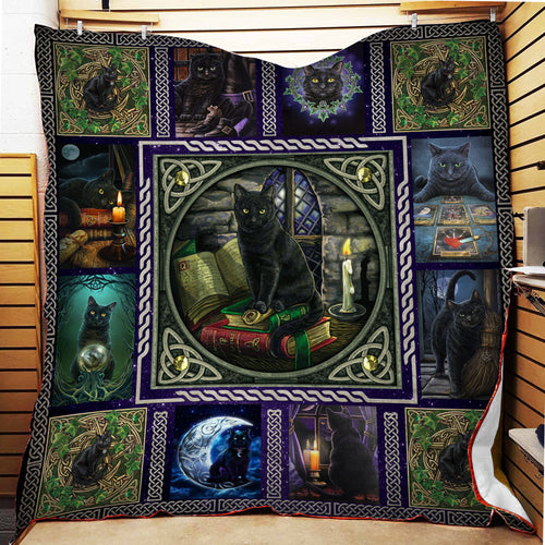 Wiccan Black Cat Fleece Blanket