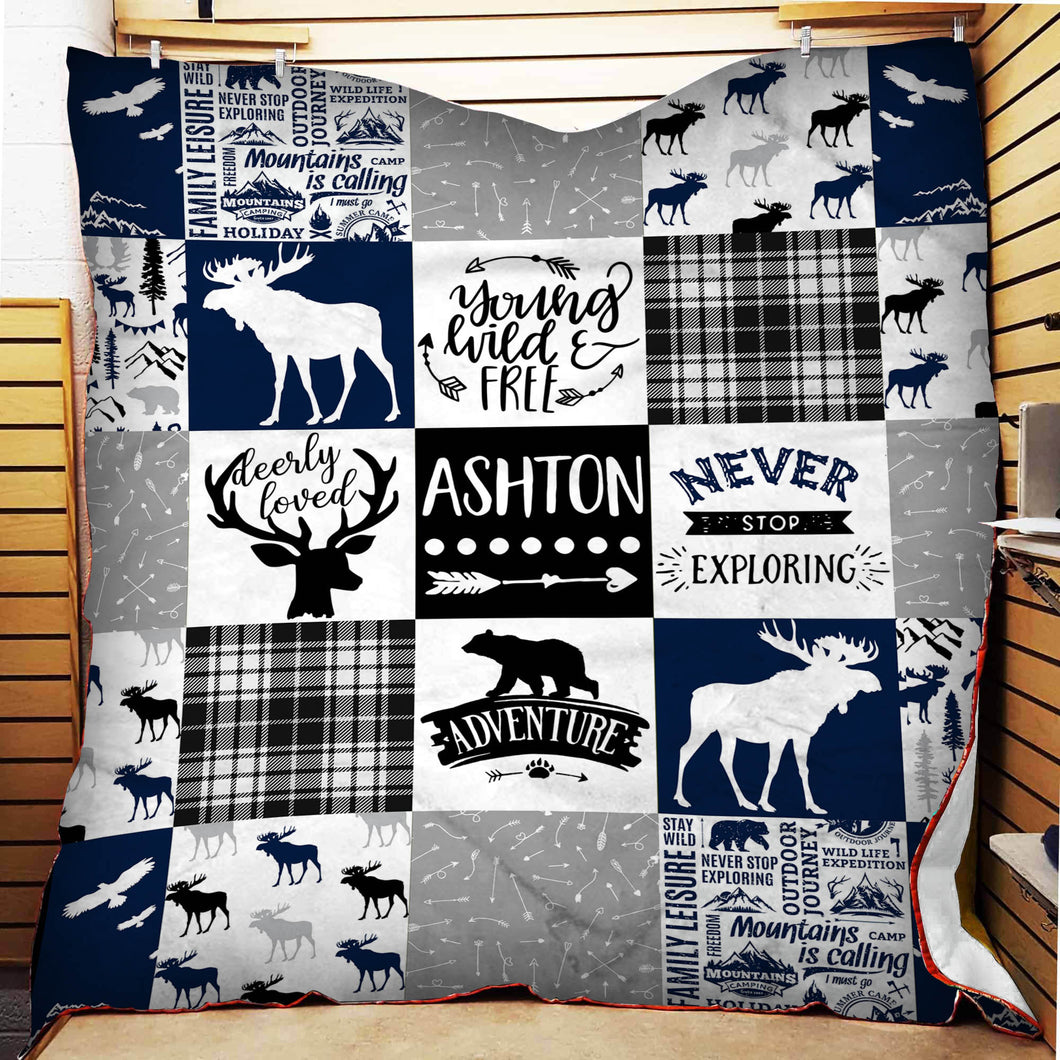 Deer Moose Minky Fleece Blanket