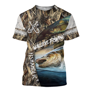 WALLEYE FISHING 3D ALL OVER PRINTED SHIRTS - FISHAHOLIC NQS103 PQB