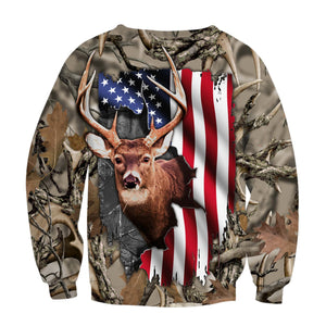 Mens womens Deer hunting clothes american flag 3D all over print shirt plus size coat, hoodie, long sleeve, t shirt NQS89 PQB