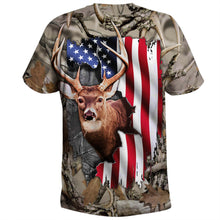 Load image into Gallery viewer, Mens womens Deer hunting clothes american flag 3D all over print shirt plus size coat, hoodie, long sleeve, t shirt NQS89 PQB