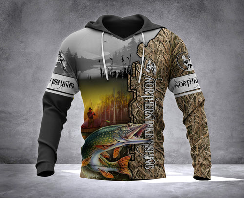 Northern Pike Fishing Camo All over print shirt - Fishing gift for men, women and kid - IPH576