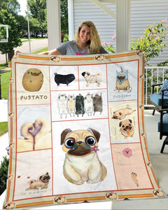Pug Dog Cute Fleece Blanket