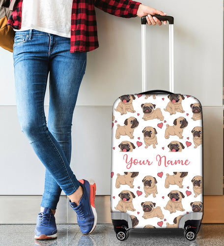 Personalized Name Suitcase Cover Pug Love - SPFTA003