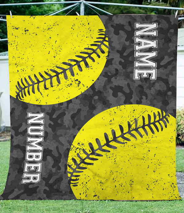 Personalized name and number softball camo fleece blanket
