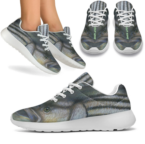 Striped bass fishing sport sneaker White sole shoes personalized - LTAPP22