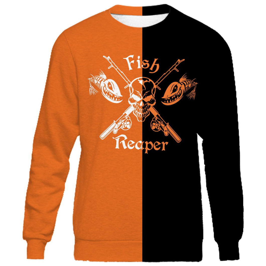 Fish reaper halloween style full printing shirt