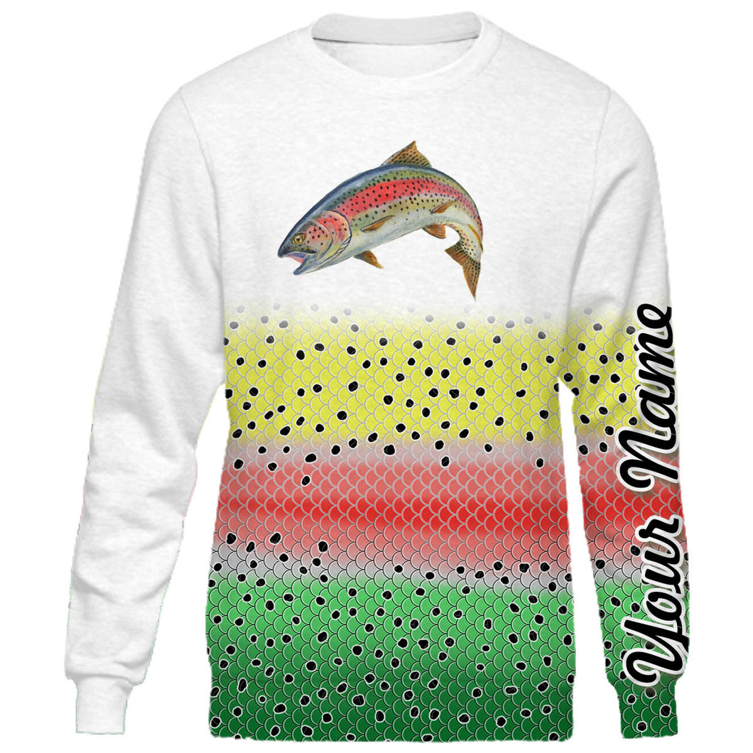Personalized rainbow trout fishing 3D full printing shirt for adult and kid - TATS54