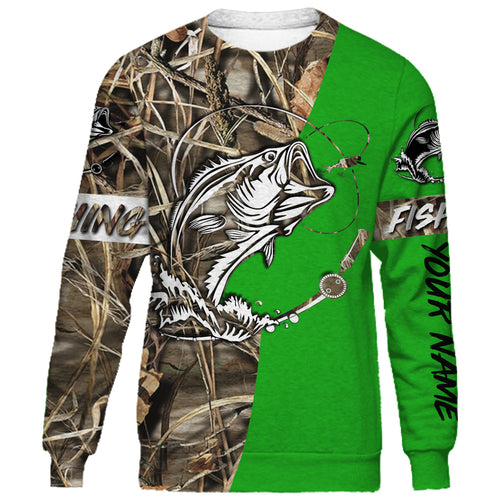 Bass Customized Name fishing tattoo green camo all-over print shirts - FSA35