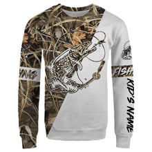 Load image into Gallery viewer, Brook Trout Personalized fishing tattoo camo all-over print long sleeve, T-shirt, Hoodie, Zip up hoodie - FSA27