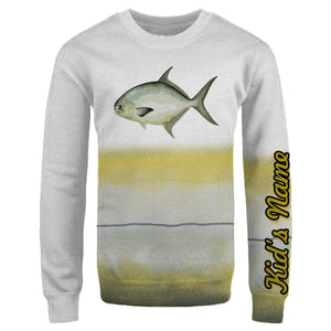 Personalized florida pompano fishing 3D full printing shirt for adult and kid - TATS43