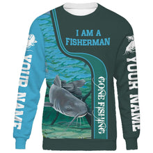 Load image into Gallery viewer, I am a fisher man blue catfish fishing full printing shirt and hoodie - TATS35