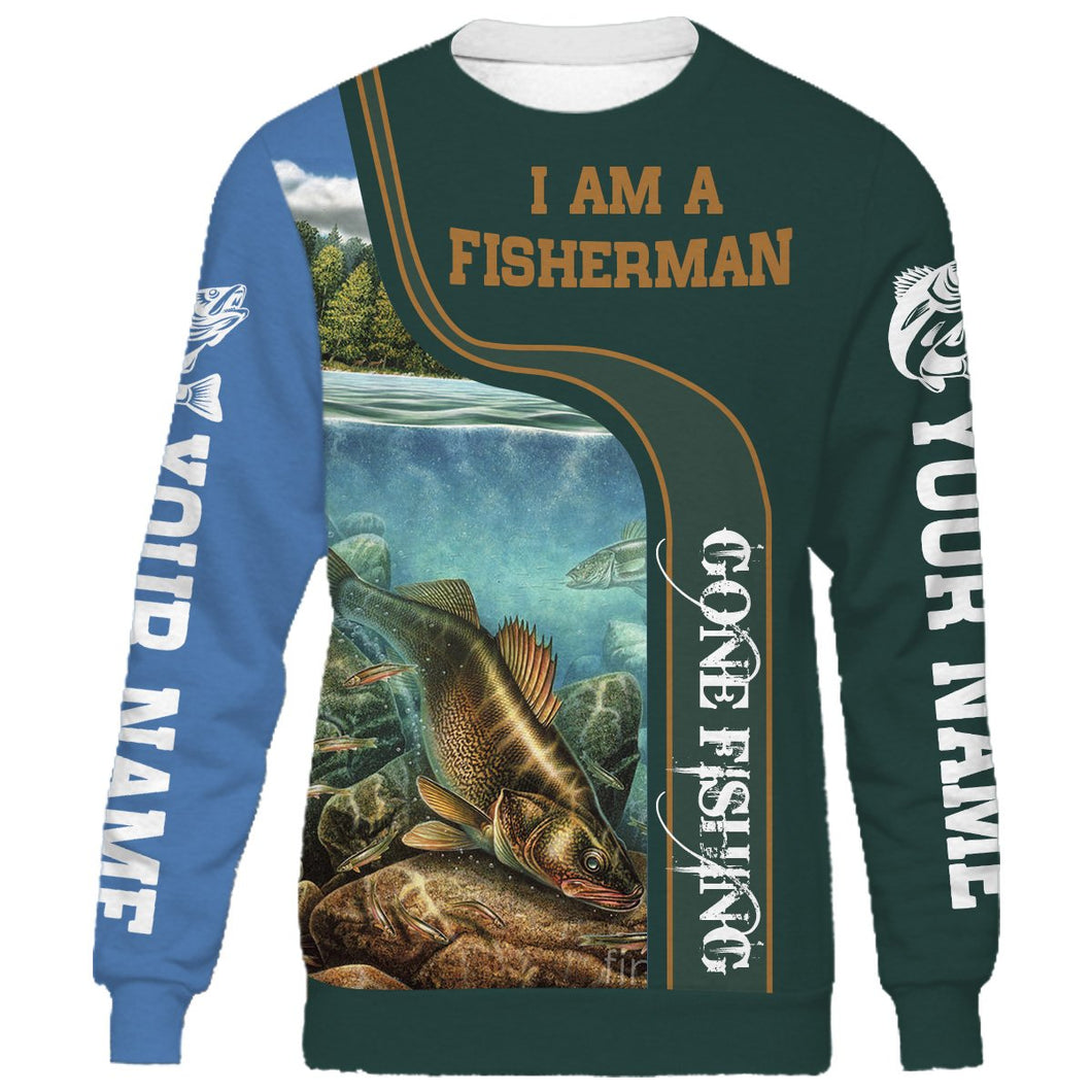 I am a fisher man walleye fishing full printing shirt and hoodie - TATS40