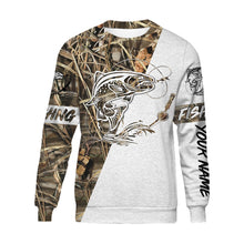 Load image into Gallery viewer, Trout Personalized fishing tattoo camo all-over print long sleeve, T-shirt, Hoodie, Zip up hoodie - FSA3