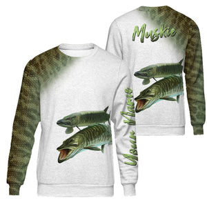 PQB1 Personalized Muskie fishing 3D full printing long sleeves shirt, hoodie for adult and kid