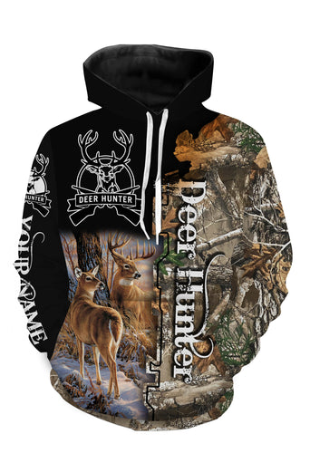 Personalized beautiful deer hunting camo 3d all over printed shirts - TATS4