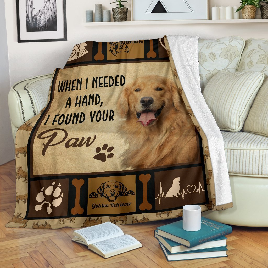 When I Needed A Hand I Found Your Paw Golden Retriever Fleece Blanket - IPH550