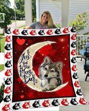 Load image into Gallery viewer, I love you to the moon and back Wolf Fleece Blanket - IPH282