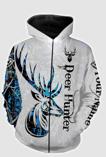 Personalized deer hunter tattoo blue full printing shirt, long sleeves, zip up hoodie, hoodie - TATS5
