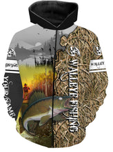 Load image into Gallery viewer, Custom Walleye Fishing Camo all over print T-shirt, Long sleeves, Hoodie shirt, Zip up Hoodie - IPH729
