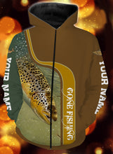Load image into Gallery viewer, Personalized name brown trout gone fishing full printing shirt and hoodie - TATS46