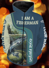Load image into Gallery viewer, I am a fisher man salmon fishing full printing shirt and hoodie - TATS50