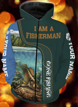 Load image into Gallery viewer, I am a fisher man walleye fishing full printing shirt and hoodie - TATS40