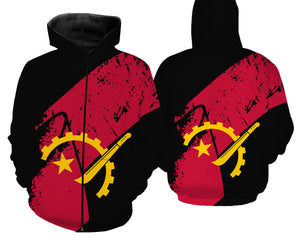 Angola flag all over full printing T-shirt, Long sleeve, Hoodie, Zip up hoodie - PQB15