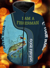 Load image into Gallery viewer, I am a fisher man northern pike fishing full printing shirt and hoodie - TATS51