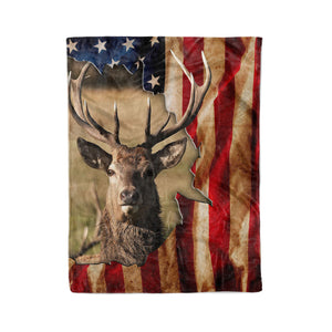 Elk Fleece blanket American Flag - FSD438