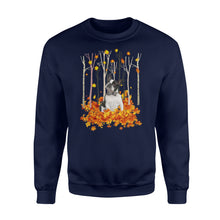 Load image into Gallery viewer, Cute Boston Terrier dog puppies under the autumn tree fall leaf - beautiful fall season Sweat shirt - Halloween, Thanksgiving, birthday gift ideas for dog mom, dog dad, dog lovers - IPH484