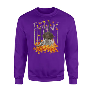 Cute German Shorthaired Pointer dog puppies under the autumn tree fall leaf - beautiful fall season Sweat shirt - Halloween, Thanksgiving, birthday gift ideas for dog mom, dog dad, dog lovers - IPH446