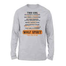Load image into Gallery viewer, Girl With Wolf Spirit Long sleeve shirt - great birthday, Christmas gift ideas for a she wolf - IPH324