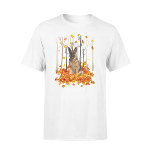 Cute German Shepherd dog puppies under the autumn tree fall leaf - beautiful fall season T-shirt - Halloween, Thanksgiving, birthday gift ideas for dog mom, dog dad, dog lovers - IPH487