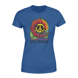 Hippie grandma colorful tie dye sunflower peace sign Woman T-shirt - best gift ideas for hippie grandma - IPH377