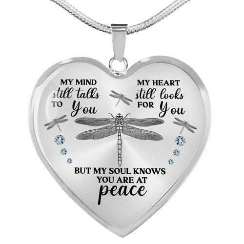 Custom Dragonfly Necklace for Widow, Sympathy and loss heart pendant necklace Widow gifts SO - Chipteeamz IPHW865 D02