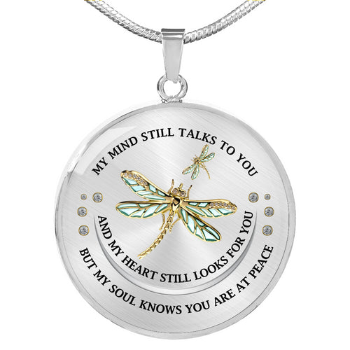 Dragonfly Circle Pendant Necklace, Memorial Necklace, Sympathy And Loss Gift D05 - IPHW362