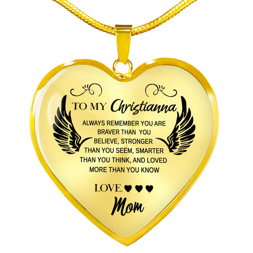 Personalized To my Daughter Heart Pendant Necklace, sentimental Birthdays gifts for Daughter from Mom - IPHW291